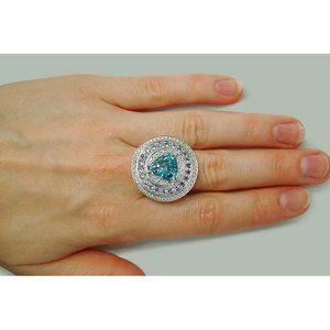 Big ring WG 14K with Blue Topaz trillant tanzanite
